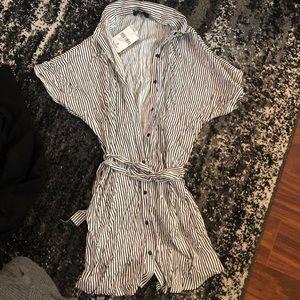 Nwt short sleeve striped shirt dress